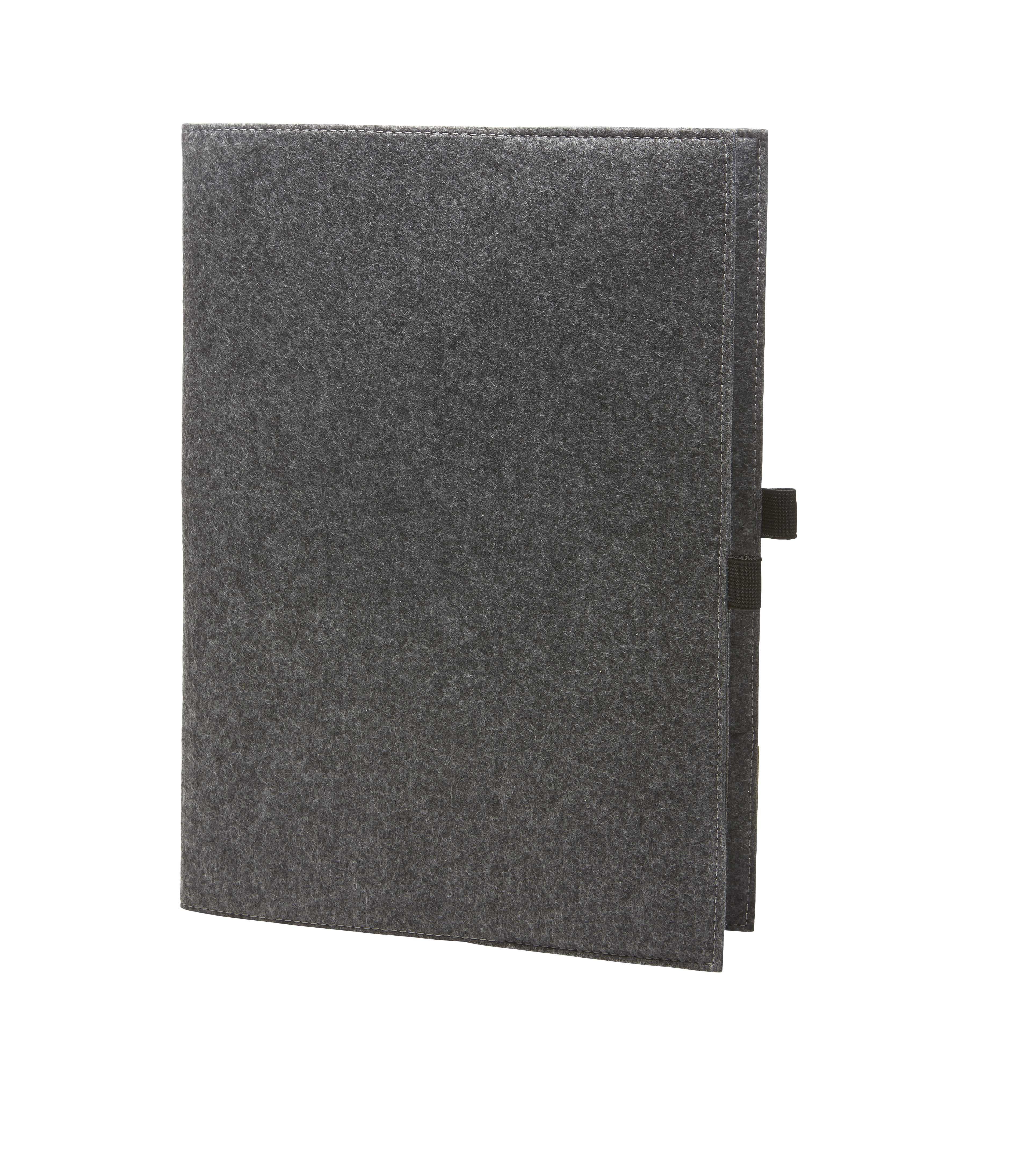 Schreibmappe Economy für DIN-A4 Papiere aus Filz in grau