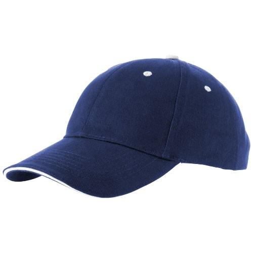 Premium 6 Panel Sandwich Cap blau als Werbeartikel bedrucken