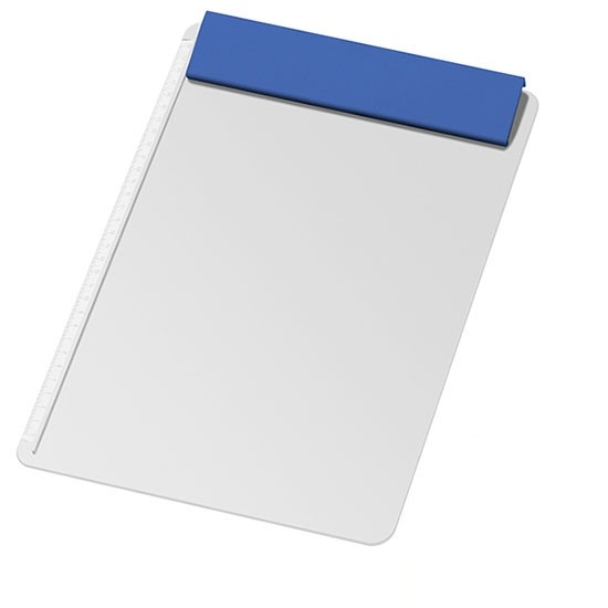 Gemaco Clipboard Schreibplatte DIN A4 mit blauer Klemmleiste als Werbeartikel
