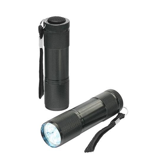 PR 9 LED Taschenlampe, weißes Licht als Werbeartikel mit Logodruck