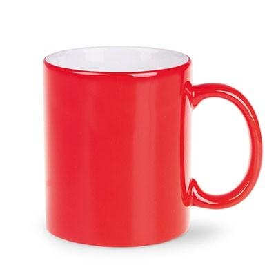 """Promum Kaffee-Becher Keramik """"gusto"""" rot weiss als Werbeartikel bedrucken"""