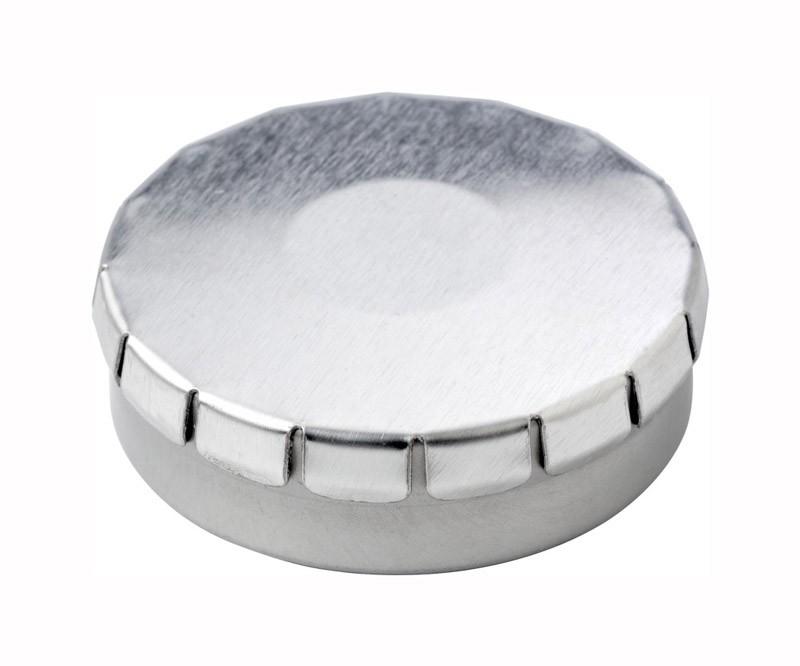 Runde Quick-Box mit Pfefferminzpastillen als Werbeartikel