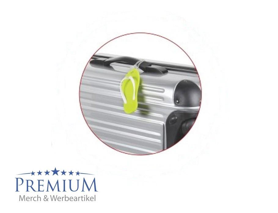Kofferanhaenger Badelatschen mit Logo bedrucken