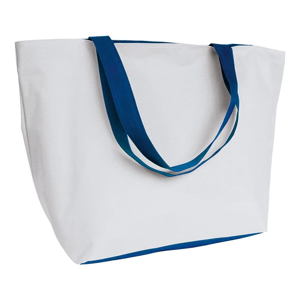 Einkaufstasche zweifarbig blau weiss als Werbetasche bedrucken
