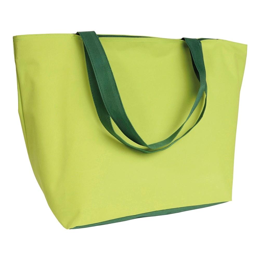 Einkaufstasche zweifarbig limettengruen und gruen als Werbetasche bedrucken
