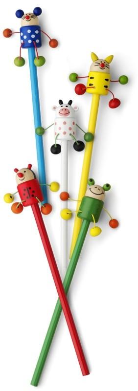 Holzbleistift für Kinder mit lustigen Tierfiguren als Werbeartikel bedrucken