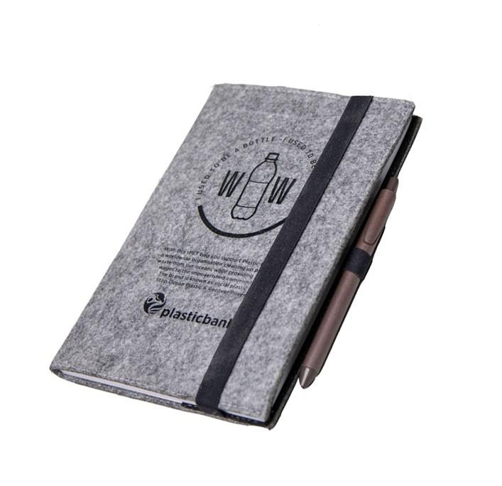 RPET Notizbuch DIN A5 - Social Plastic Filznotizbuch mit 40 linierten Schreibblättern