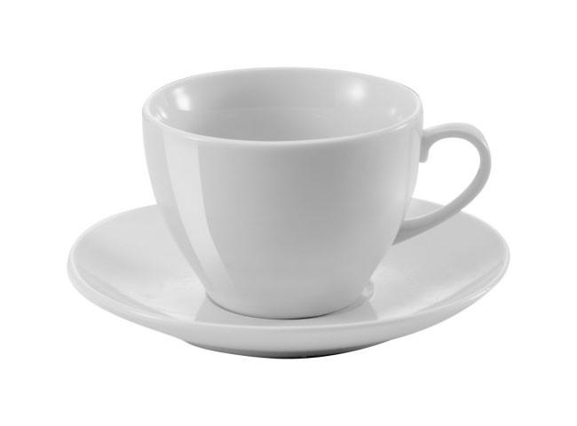 Goodlife Kaffeetasse mit Untertasse aus Porzellan mit Logodruck
