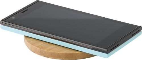Kabelloses Ladepad aus Bambus für Smartphones als Werbeartikel mit Logodruck bestellen
