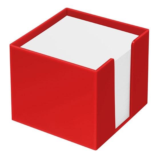 Zettelbox als Werbeartikel in rot mit Papier
