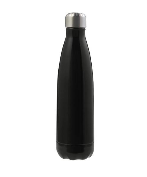 Gemaco Trinkflasche Sevilla Trinkflasche aus Edelstahl mit silbernem Schraubdeckel schwarz