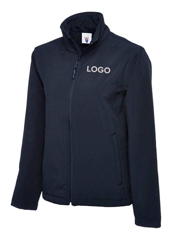 Klassische Softshell Jacke mit Logodruck navyblau