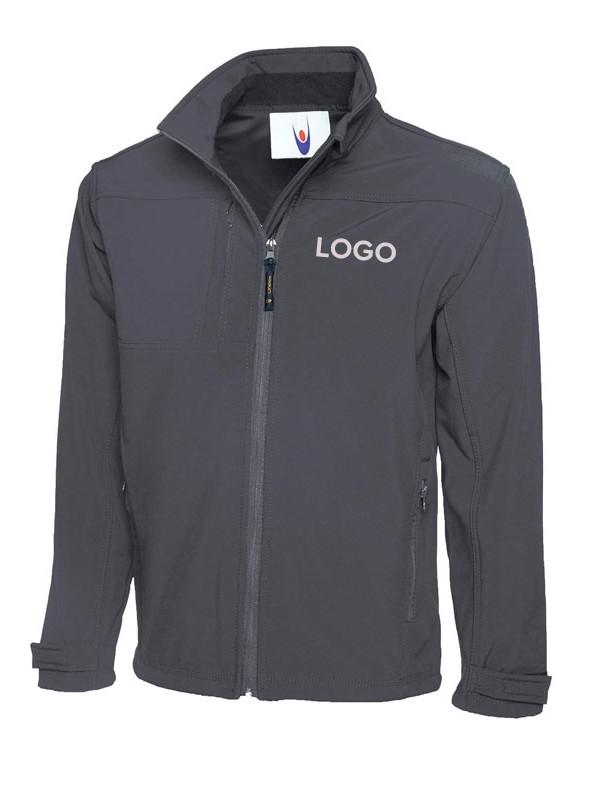 Premium Softshell Jacke in grau mit Logodruck