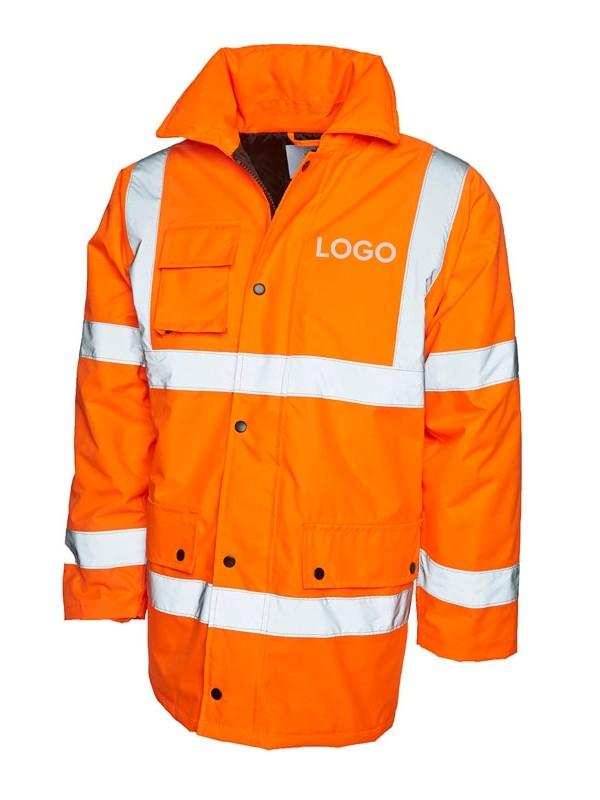 Warnschutzjacke orange mit Logodruck