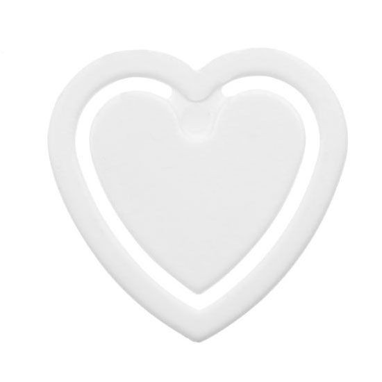 Zettelklammer Herzform weiss unbedruckt