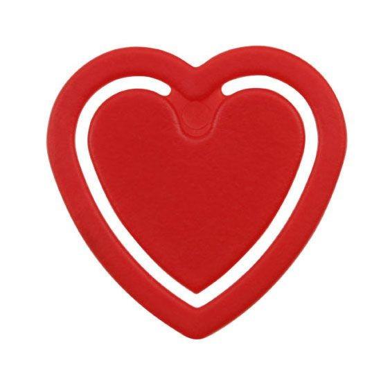 Zettelklammer Herzform rot 1-farbig bedruckt