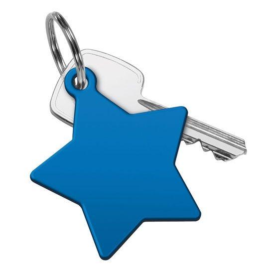 Schlüsselanhänger Stern blau und bedruckt