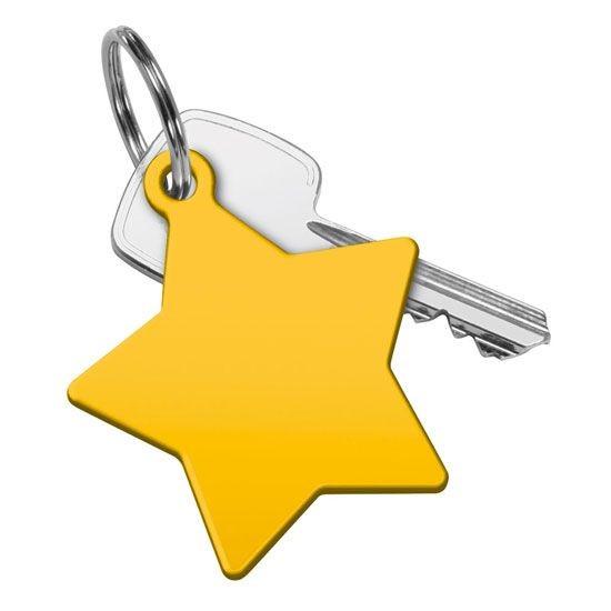 Schlüsselanhänger Stern gelb und bedruckt