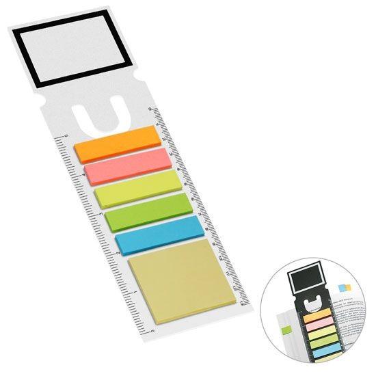 Haftnotizen-Lesezeichen weiss 1-farbig bedruckt