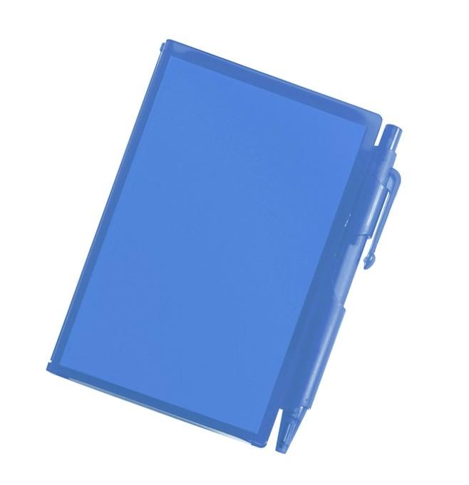 handliches Notizbuch aus recyclebarem Kunststoff als Werbeartikel