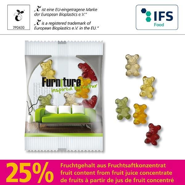 Fruchtsaft-Bärchen in kompostierbarem Werbetütchen