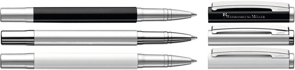 Uma Metall-Rollerball mit gefedertem Clip. Oberfläche in silber matt und glänzenden Beschlagteilen, schwarz matt oder weiß glänzend mit matten Beschlägen