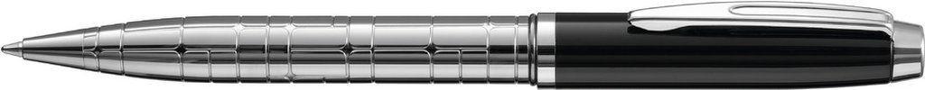 Metall-Drehkugelschreiber mit Softdrehmechanik, hochwertiger Schaftdesignätzung und Metallzierring. Beschlagteile glanzverchromt. Minenfarbe: blau