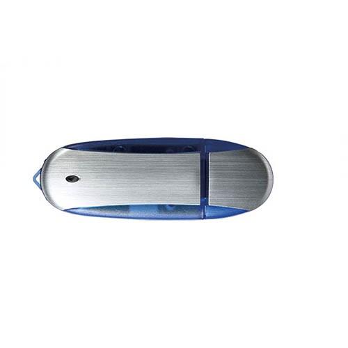 Oval mit PROMO-Chip USB-Stick, Version 2.0, Gehäuse Aluminium mit farbigem Kunststoff-Rand