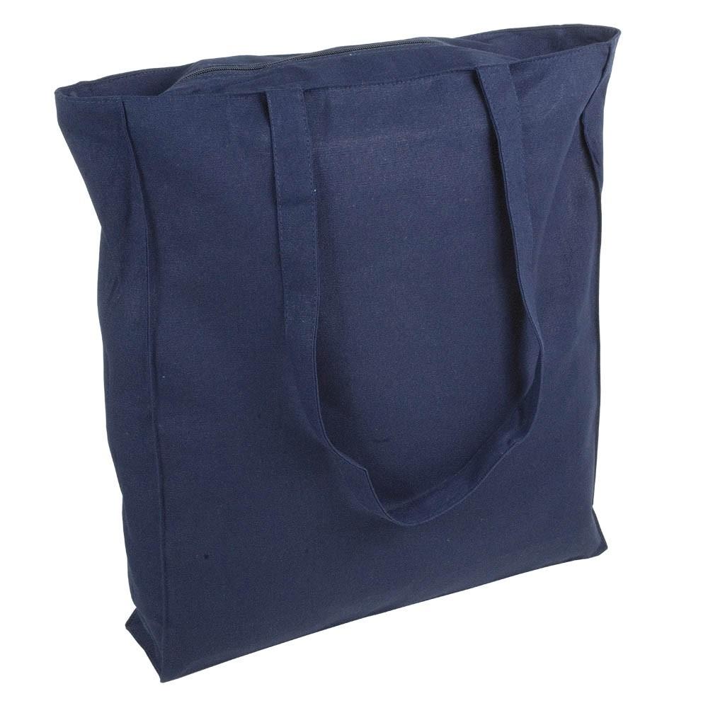 Baumwolltasche Shopper blau mit Reissverschluss