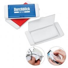 Mikrofasertuch in einer Box zum reinigen von Brillen und Handydisplays