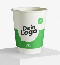 PR Pappbecher doppelwandig Inhalt: 240 ml.als Werbeartikel bedrucken