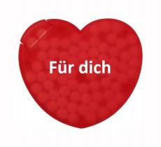 Zuckerfreie Pfefferminbonbons im Herz als Werbeartikel bedrucken