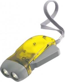 Taschenlampe mit wieder aufladbaren Akkus durch Dynamo als Werbeartikel