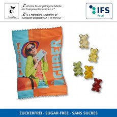 Zuckerfreie Bärchen in kompostierbarem Werbetütchen
