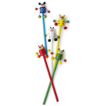 Lustiger Bleistift für Kinder aus Holz mit Tierfiguren