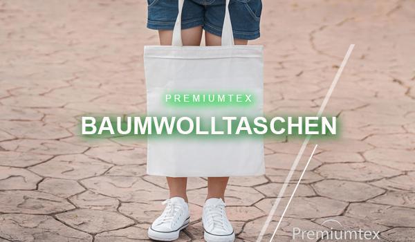 Premiumtex Baumwolltaschen fairtrade mit eigenem Logo als Werbeartikel bedruckt